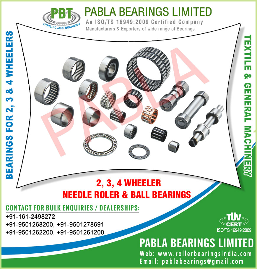 2 wheeler bearings 3 wheeler bearings needle roller bearings ball bearings manufacturers exporters sellers supplies in India Punjab Ludhiana