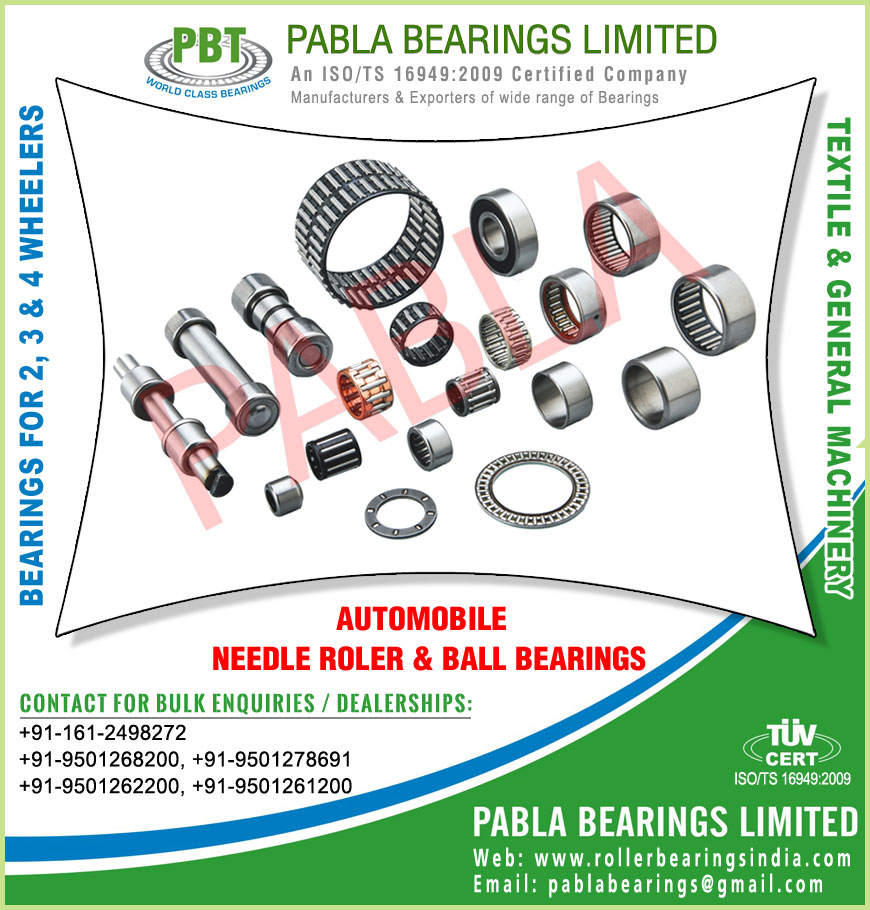 3 wheeler bearings automobile bearings needle roller bearings ball bearings manufacturers exporters sellers supplies in India Punjab Ludhiana