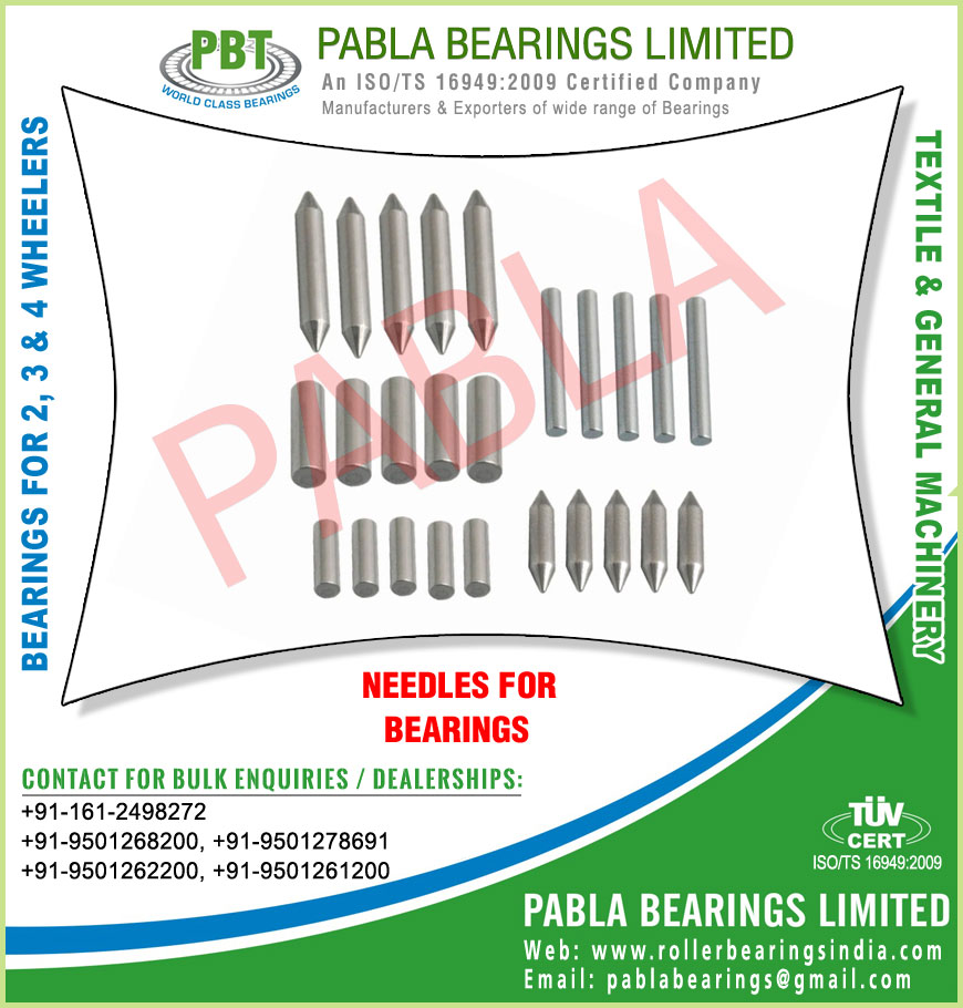 needle for bearings needle roller bearings manufacturers exporters sellers supplies in India Punjab Ludhiana