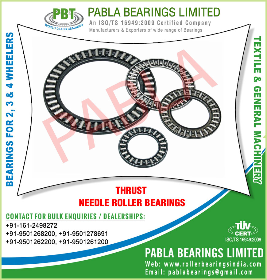 thrust needle roller bearings manufacturers exporters sellers supplies in India Punjab Ludhiana
